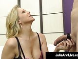 Dom Cougar Julia Ann Punishes A Slave Cock With Pantyhose!