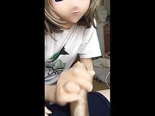 Orgasm video: kigurumi stroking penis