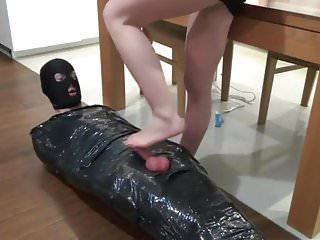 Femdom daughter destroys slave ball in vise porn