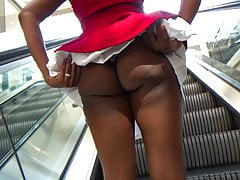 Upskirt Big Booty Ass Black Girl Panties In Butt