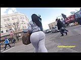 Candid Megabooty Latina in Gray See-Thru Leggings