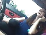 lesbian fun in car