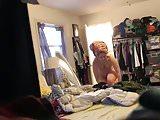 Wife dressing hidden cam after shower