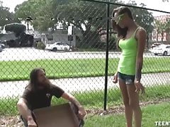 Sasha Foxxx Superb Handjob For Homeless Guy