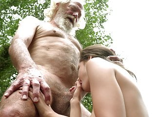 70 year old grandpa fucks 18 year old girl moans and excited