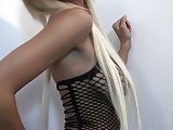 sexy blonde Hailey in a fishnet dress