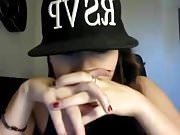 Elizabeth Douglas smoking 2 cigars on webcam