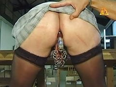 My sexy piercings - mature pierced slave with bottle in ass