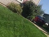 Milf neighbor mowing ass