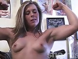 Fit Teen Muscle Girl Stretches and Poses Naked