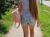 Candid long hair girl