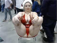 Chubby Blonde Piggy-Con. duży łup łup