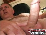 Fat hairy guy plays with his hard dick and unloads jizz