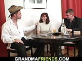 Two boozed dudes fuck hairy redhead granny