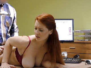 Blowjob Redhead European video: LOAN4K. Buxom ginger is fucked hard at casting performed by