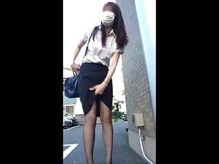 Japanese cam girl masturbating in public