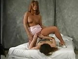 Brunette lesbian plays with big clit redhead's labia pt1