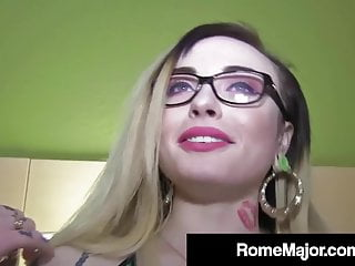 Hardcore Small Tits Blowjob video: Black Bull Rome Major Cums On Inked Chloe Cartier's Glasses!