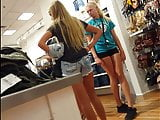 Candid voyeur volleyball teen in spandex shopping
