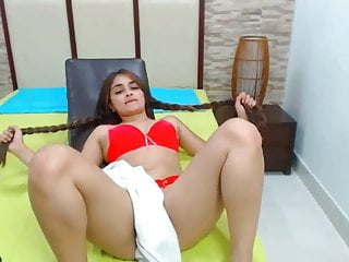 .Super Sexy Latina Hairplay and Striptease, Long Hair, Hair.