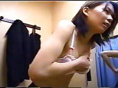 A japanese girl in dressing room