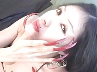 Show Long Nails 18 Years Old video: Red long nails show