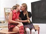 Lesbian Teen Girls in Socks get naughty in school