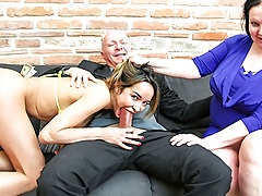 Horny Older Duo Pays Exotic Dancer To Fuck