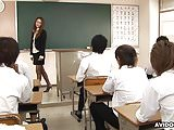 Naughty teacher teaches her studens a sex lesson