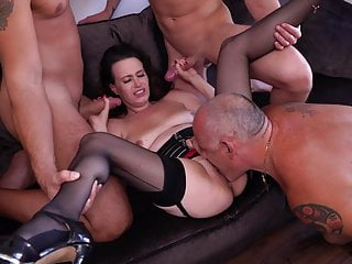 Gangbang Amateur Cuckold video: Mature wife takes 3 cocks while cuckold watch