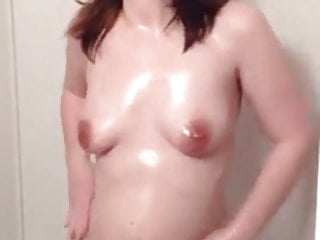 Nipples French video: Amateur girl rubs oil on body in the shower