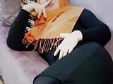 Slut turban turkish girl in Shiny black opaque tig