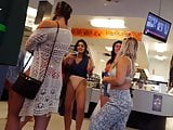 Candid voyeur crew of hotties in store bikini