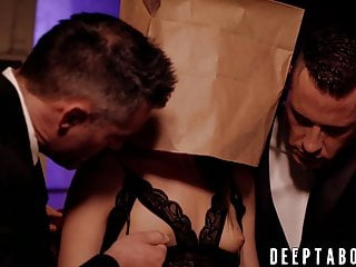 Lingerie Small Tits Blowjob video: Cum eating beauty fucked hard by two classy businessmen