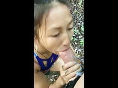 Asian Girlfriend & Huge White Dick Outdoors Cumshot