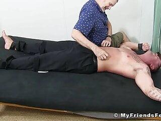 Bound hunk Joey endures having his yummy feet tickled hard