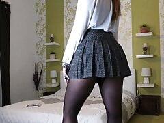 Kat in pantyhose and heels