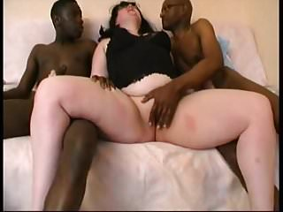 Sylviane takes 3 black cocks...