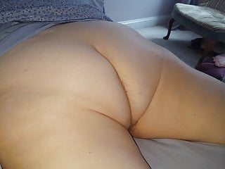 hairy white ass crack, hairy pussy laying on her belly