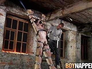Restrained gay Aaron Aurora wax tormented by Ashton Bradley