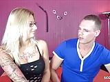German Glasses Tattoo Teen Jasmin at Porn Casting for Cash