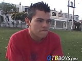Slender latino twink bends over and gets smashed doggy style
