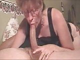 Hot grandma giving a deepthroat to a big cock and get cum in