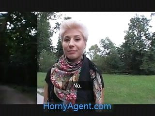Hornyagent blonde lesbian takes cock for money...