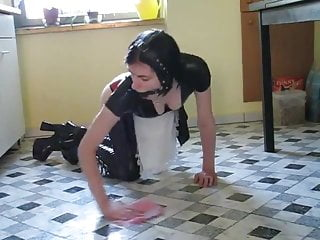 dildo kitchen in Latex fetish maid sex
