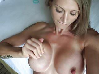 Cum on her boobs