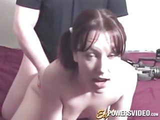 Lady with pigtails services an in her first...