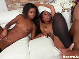 Bigass black babe doggystyled on couch