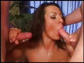 Hot russian slut sucks two cocks