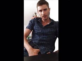 HOT Israeli with HUGE dick jerks off in bedroom